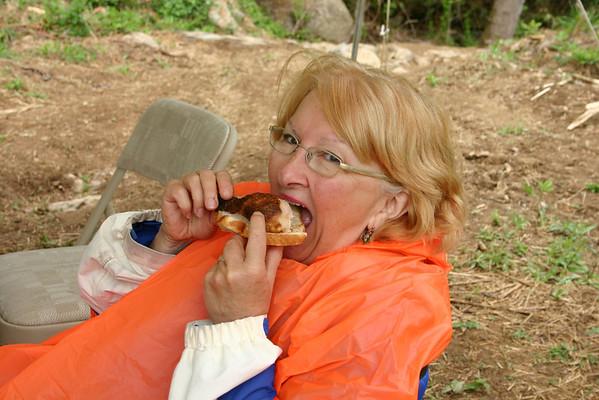 "Ida Swenson enjoying a ""chicken sandwich"" during our lunch break."