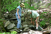 Ann Mallek (Albemarle County Supervisor, Virginia Museum of Natural History educator, and Virginia Master Naturalist Steering Committee Member) and Bob Henricks (class of Spring 2010) survey for stream invertebrates in Stream F, near the main trail. (Photo by Michelle Prysby)