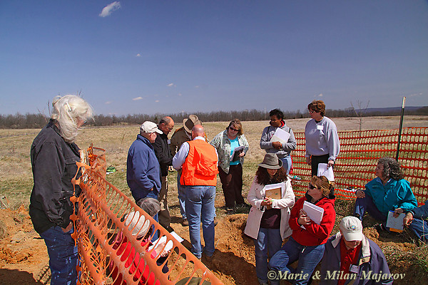 Soil Pits dug in the succession fields provide wonderful learning opportunities; here Master Naturalists learn to determine soil types and assess horizons with USDA's Don Flegel.