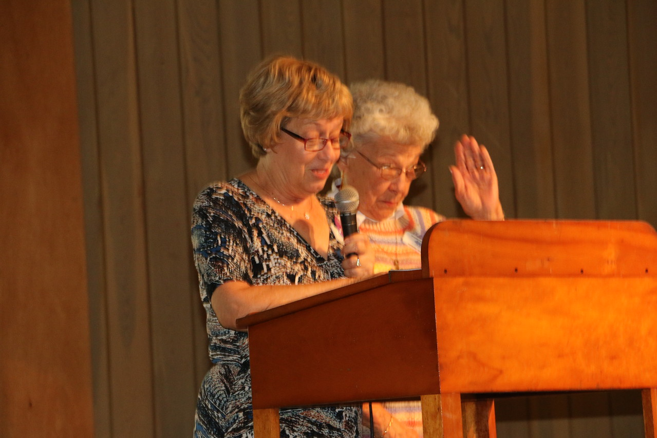 Lou Burns and Barb Van Buren the Co- Leaders of Anything Sews give their report. Barb, also Treasurer, gave that report.