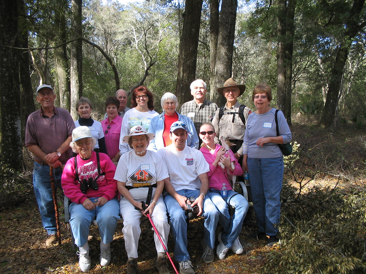 Happy hikers on the Cross Florida Greenway, Belleview Gateway Community celebration<br /> photo credit: Judy Trotta / Florida Trail Association