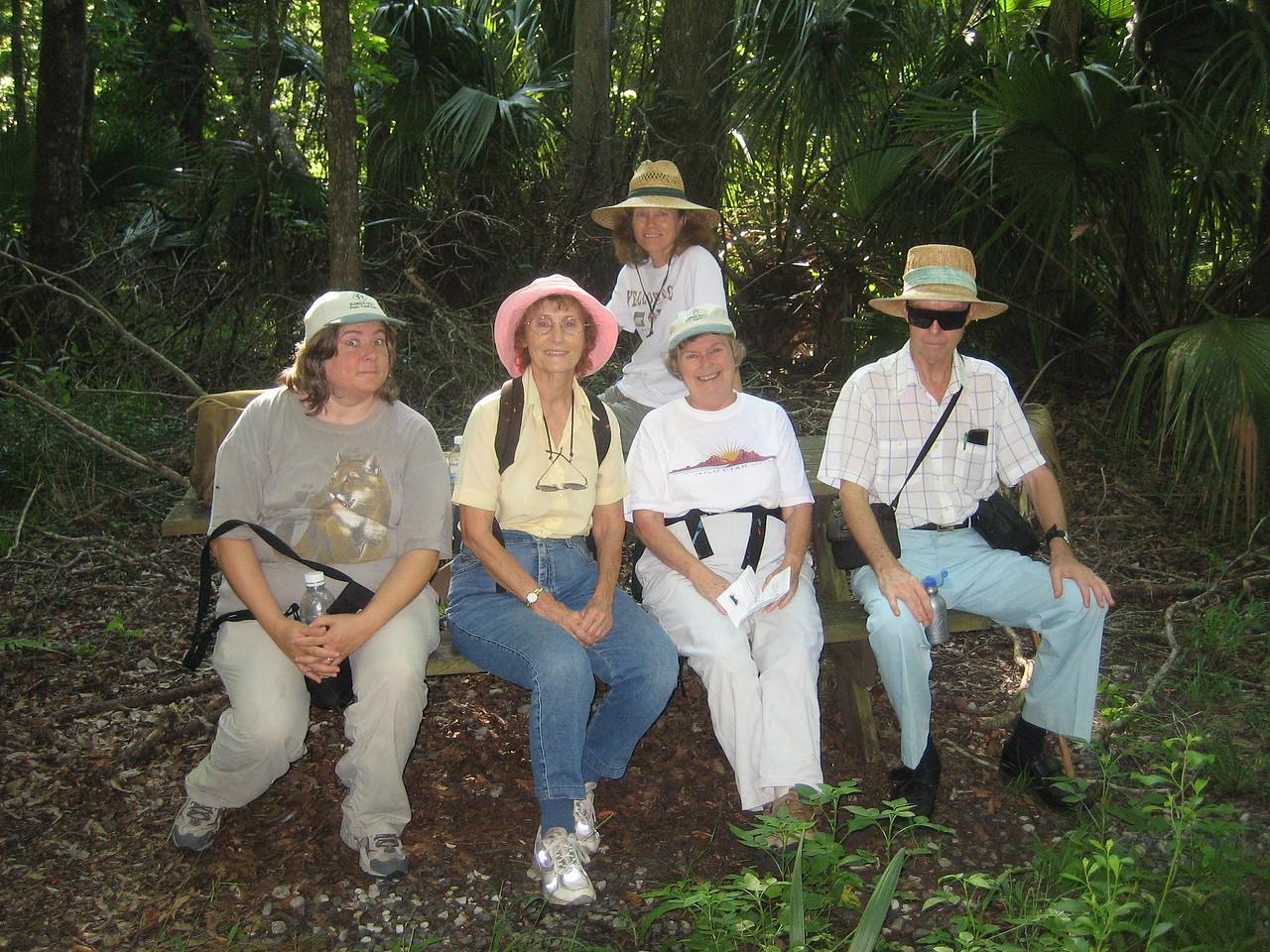 Florida Crackers hikers at Marshall Swamp picnic bench