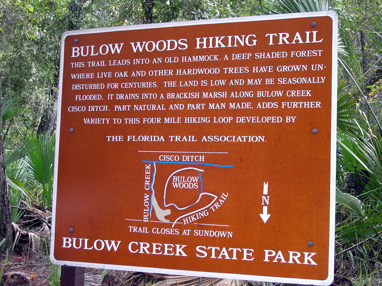 Sign at Bulow Creek State Park<br /> photo credit: Susan Young / Florida Trail Association
