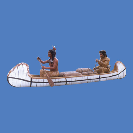 Native American & Trapper in Canoe, life size #6016