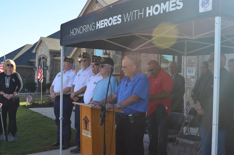 Donnie Evans of Altura Homes welcomes everyone to the special ceremony