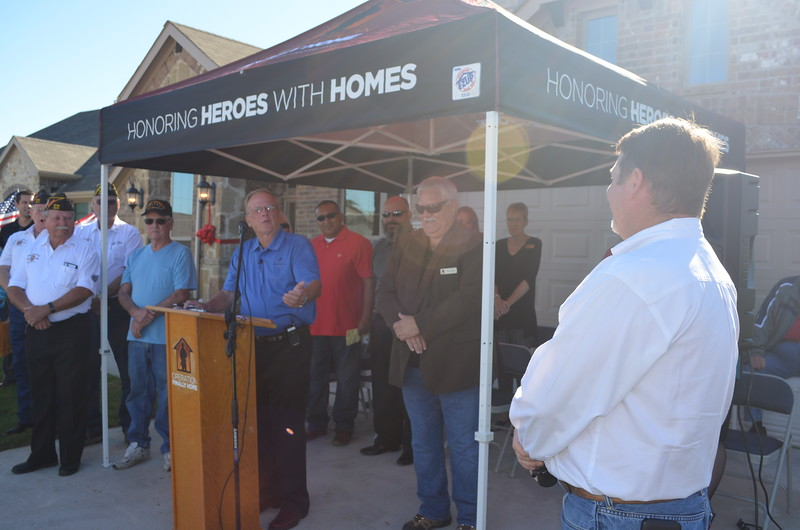 Donnie Evans recognized Michael Turner of Classic Urban Homes for his efforts constructing an Operation FINALLY HOME house earlier this year and for his service as the Dallas Builders Association President.