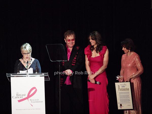 Bette Midler, Elton John, Elizabeth Hurley, Evelyn Lauder<br /> photo by Rob Rich © 2010 robwayne1@aol.com 516-676-3939
