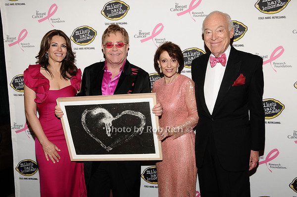 Elizabeth Hurley, Elton John, Evelyn Lauder, Leonard Lauder<br /> photo by Rob Rich © 2010 robwayne1@aol.com 516-676-3939