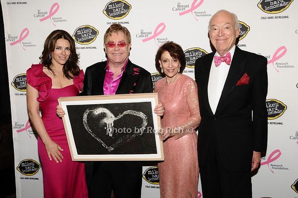 Elizabeth Hurley, Elton John, Evelyn Lauder, Leonard Lauder<br /> photo by Rob Rich © 2010 robwayne1@aol.com 516-676-3939