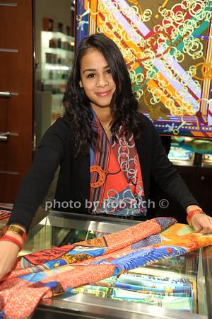 Ashley Ashley Ramiera displays a Hermes scarf photo by Rob Rich/SocietyAllure.com © 2014 robwayne1@aol.com 516-676-3939