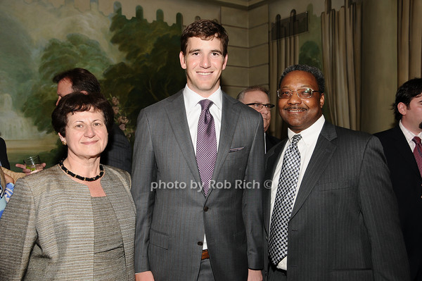 Grace LoGrande, Eli Manning, Monroe Hale<br /> photo by Rob Rich © 2010 516-676-3939 robwayne1@aol.com