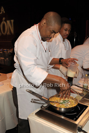 Chef Khalid from Catch restaurant whips up some Lobster Mac n' Cheese<br /> photo by Rob Rich/SocietyAllure.com © 2014 robwayne1@aol.com 516-676-3939