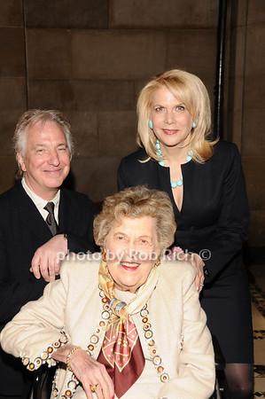 Alan Rickman, Ethel  Lefrak, Francine Lefrak<br /> photo by Rob Rich © 2010 516-676-3939 robwayne1@aol.com