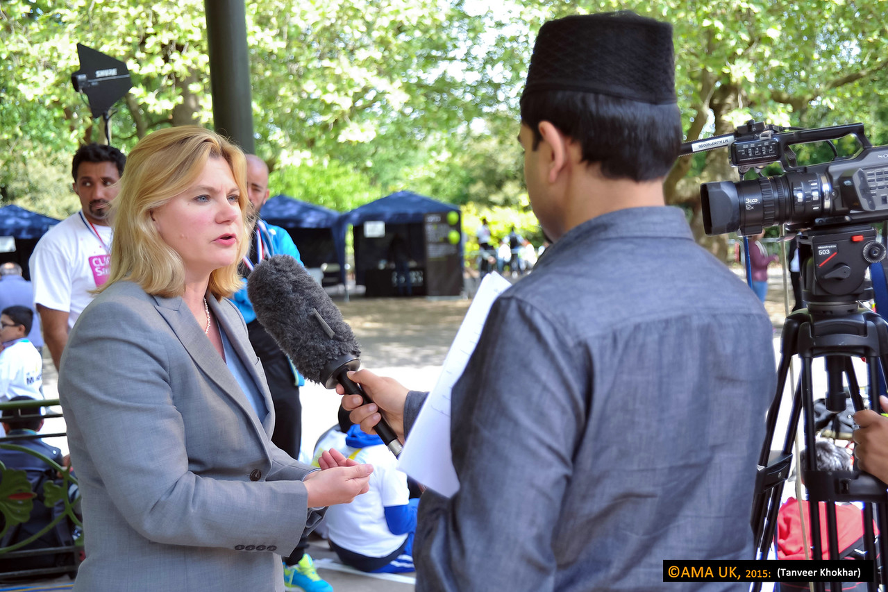 Justine Greening MP gives an interview to the TV station of the Ahmadiyya Muslim Association.