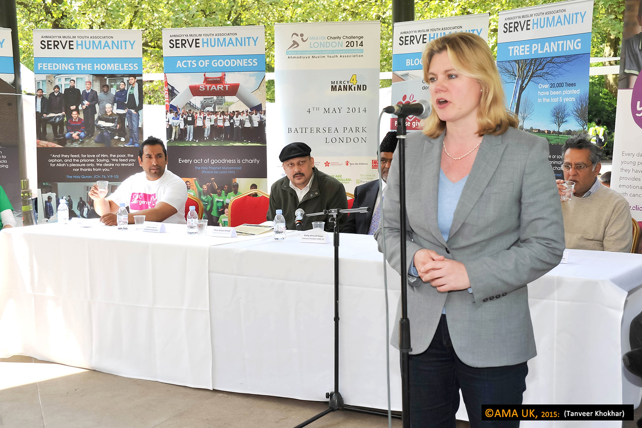 Justine Greening MP commended the Ahmadiyya Muslim Community for its charitable work in the UK including the massive flood relief efforts as well as its charitable work internationally.
