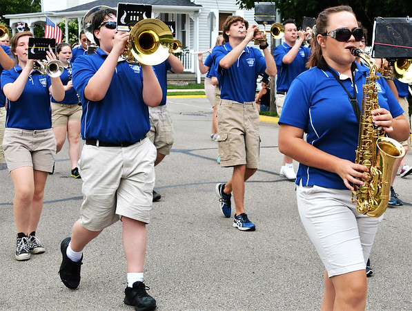 "Debbie Blank | The Herald-Tribune<br /> Was it just a coincidence that the Batesville High School band was playing ""Smoke on the Water"" during a firefighters' fest parade?"