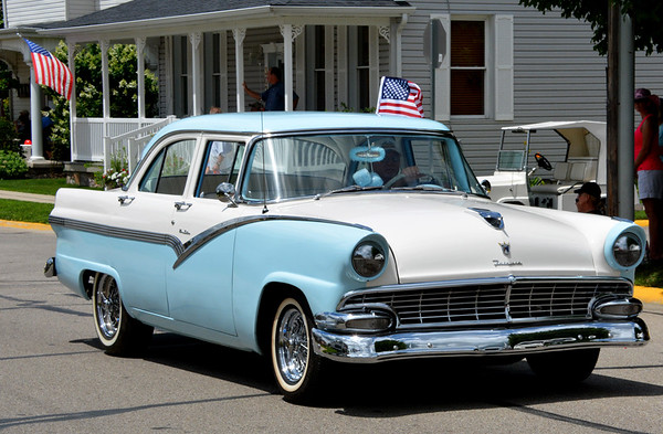 Debbie Blank | The Herald-Tribune<br /> This aqua-and-white Ford Fairlane brought back images of days gone by. Matching dice!