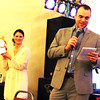 Debbie Blank | The Herald-Tribune<br /> Andi (left) and Jonathan White of White's Auctions, Brookville, kick off live auction bidding.