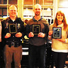 Debbie Blank | The Herald-Tribune<br /> Honorees are (from second from left) Sgt. Adam Henson, Resolute Team Award; Tim Broughton, representing dog Shadow, Noble Dog Award; and Lauren Hinderberger, Helping Hand & Paw Award. Their dogs Lito, Shadow and Angel, respectively, are not pictured. Celebrating with them are Bear and Friends Animal Society founders Drew Schneider (left) and Dr. Michelle Roberts-Schneider.