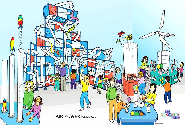 """Drawing courtesy of MindSplash and KidZibits<br /> The overall themes and individual components for the exhibit areas, such as Air Power, came from months of market research and planning. """"Through our market analysis, we have determined the need for a facility that is a total of 15,000 square feet,""""  according to the president."""