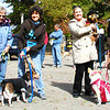 Debbie Blank | The Herald-Tribune<br /> The costume contest winner was a labradoodle named Jackson (second from right), dressed as Elvis and owned by Carrie Weberding, Oldenburg. Second place went to Indiana University-themed Bella (right), an American Eskimo owned by David Thornsberry, Batesville. In third place were a bride and groom, beagles named CeCe and Baxter, owned by Sharon Mulvaney (second from left) and trained by Ellen Urban, both Sunman.