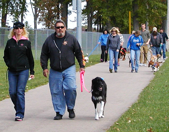 Debbie Blank | The Herald-Tribune<br /> Embarking on the long walk, and all during the afternoon, the dogs got along really well.