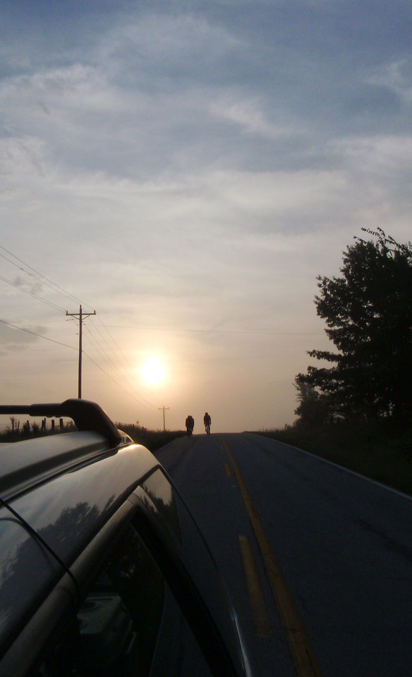 Sunday morning, cresting a hill on Hwy. Y.