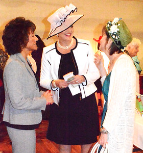 Debbie Blank | The Herald-Tribune Batesville residents Patricia Hatcher (from left), Cecilia Rose and Kathy Fangman catch up. With a Kentucky Derby theme, many women wore hats to the 14th annual Ripley County Community Foundation Women in Philanthropy Fundraising Luncheon April 18.