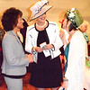 Debbie Blank | The Herald-Tribune<br /> Batesville residents Patricia Hatcher (from left), Cecilia Rose and Kathy Fangman catch up. With a Kentucky Derby theme, many women wore hats to the 14th annual Ripley County Community Foundation Women in Philanthropy Fundraising Luncheon April 18.