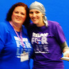 Debbie Blank | The Herald-Tribune<br /> Mandy Scott (right), Batesville, accepts the Ripley County Relay for Life Courage Award from co-lead Samantha Smith. The mother of four has multiple myeloma, which is incurable, but very treatable, according to cousin Cindy Lamping, who chaired the survivors lap and breakfast.