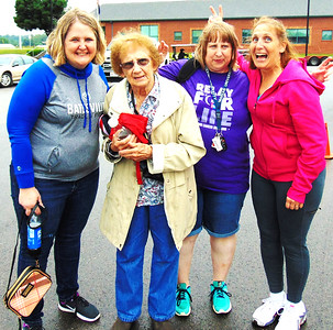 Photo courtesy of Kelly Livers Cancer survivor Diane Raver (second from right) was supported at the relay by her mother, sisters and other loved ones.