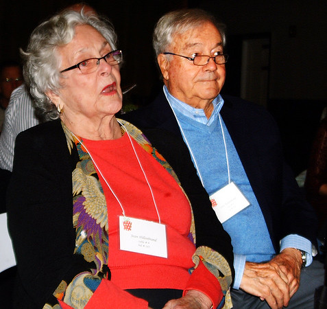 "Debbie Blank | The Herald-Tribune Speaking of Joan Hillenbrand (left), Batesville, master of ceremonies Dan Mattingly said, ""This event was her idea. Seven years ago she brought this idea to Safe Passage."" The announcement was met with applause. With her is husband John."