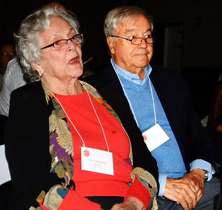 """Debbie Blank   The Herald-Tribune Speaking of Joan Hillenbrand (left), Batesville, master of ceremonies Dan Mattingly said, """"This event was her idea. Seven years ago she brought this idea to Safe Passage."""" The announcement was met with applause. With her is husband John."""