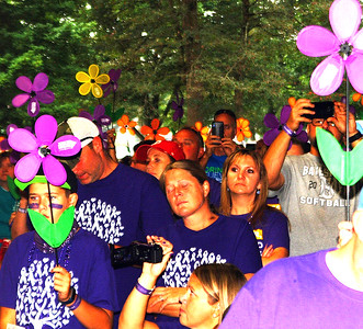 "Debbie Blank | The Herald-Tribune Debbie Rohrig, dementia patient coordinator at Ripley Crossing, the Promise Garden sponsor, reported, ""We walk for our residents. We walk for our families. We walk for the millions who are facing this every day."""