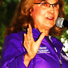"Debbie Blank | The Herald-Tribune<br /> The first Southeast Indiana Walk to end Alzheimer's, hosted by the Alzheimer's Association of Greater Cincinnati, raised over $38,000, much higher than the $25,700 goal. ""That is awesome!"" announced the chapter's executive director Paula Kollstedt, Aug. 25 at the Liberty Park Pavilion podium during the opening ceremony."