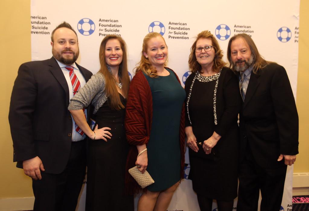 . American Foundation for Suicide Prevention gala fundraiser. From left, Brendan Block of Salem, N.H., Kristen Rezendes of Salem, N.H., Erin Crawford of Pelham, N.H., and Rezendes\' parents Evelyn and Al Rezendes of Lynn.  (SUN/Julia Malakie)