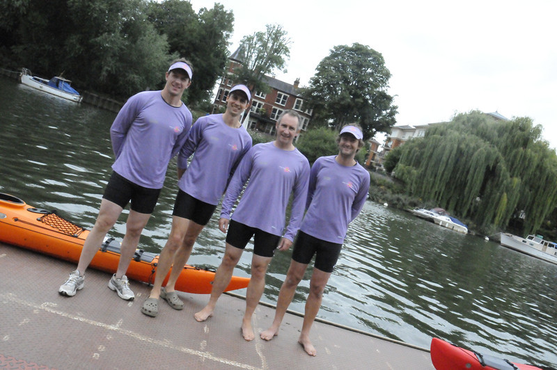 Canoe for Neve team at Richmond canoe Club, River Thames, <br /> L to R, Steve, Graham, Steve, Jason