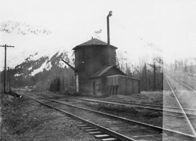 2021.009.PA.026--charles stats 3x4 print [US Army]--ARR--water tank and pumphouse looking northeast--Hunter AK--c1951 0000