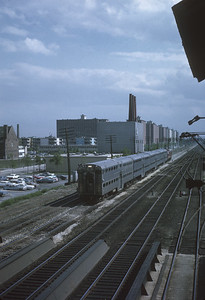 2021.009.1.016--charles stats 35mm kodachrome [Don Davis]--CRI&P--looking south from 45th Street interlocking tower commuter passenger train--Chicago IL--1968 0521