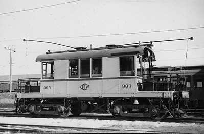 2021.009.PT.017--charles stats 3x5 print--CCW--Charles City Western electric freight locomotive 303--Charles City IA--1951 0915
