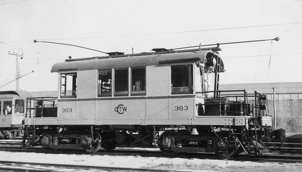 2021.009.PT.012--charles stats 2.5x4.25 print--CCW--Charles City Western electric freight locomotive 303--Charles City IA--1951 0915