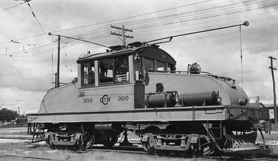 2021.009.PT.018--charles stats 2.5x4.25 print--CCW--Charles City Western electric freight locomotive 300--Charles City IA--1951 0915