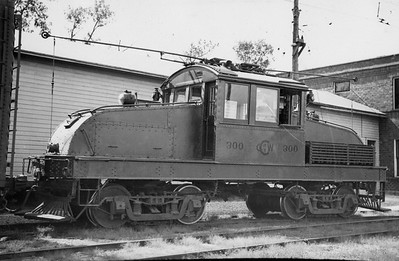 2021.009.PT.001--charles stats 3x5 print--CCW--Charles City Western electric locomotive 300--Charles City IA--no date