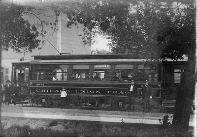 2021.009.RPPC.009--charles stats RPPC--CUT--streetcar trolley on Milwaukee Ave line--Chicago IL--c1907 0000