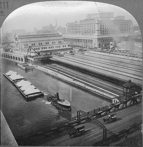 2021.009.CC.007--charles stats stereograph--CMStP&P--Union Station view looking southwest from --Chicago IL--c1920s
