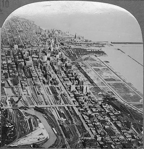 2021.009.CC.008--charles stats stereograph--ICRR--aerial view of downtown Chicago looking north--Chicago IL--c1920s