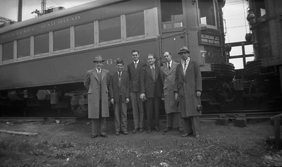 2021.009.4.010--charles stats 116 neg [Raymond Colombe]--CNS&M--fans posing in front of interurban coach 764 at Edison Court--Waukegan IL--c1938 0000