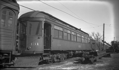 2021.009.4.015--charles stats 116 neg [Raymond Colombe]--CNS&M--old wooden interurban coach 131 converted to snowplow service--Highwood IL--c1938 0000