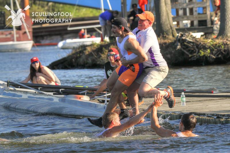 Hobart celebrates winning the Men's Eight at ECACs
