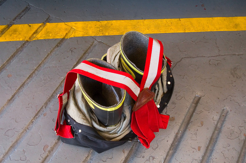 Boots, clothes and suspenders all laid out........<br /> <br /> for a fire type occasion.